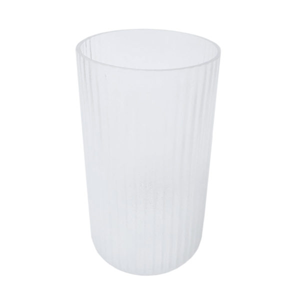 White Frosted Stripe Vase Large