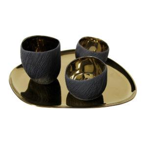 Black And Gold Tea Light Set