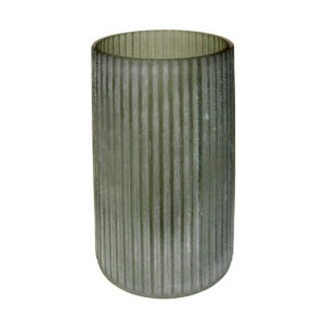 Green Frosted Stripe Vase Large