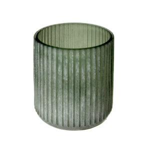 Green Frosted Stripe Vase Medium