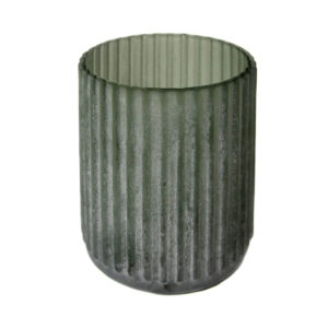 Green Frosted Stripe Vase Small
