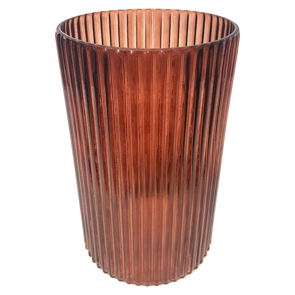 Ribbed Rust Vase