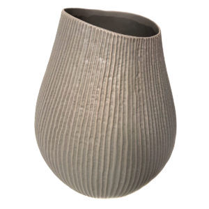 Ribbed Grey Pod Vase - Large