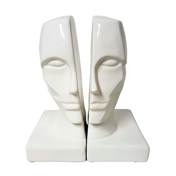 White Face Bookends