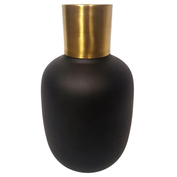 Black Frosted Vase with Gold band