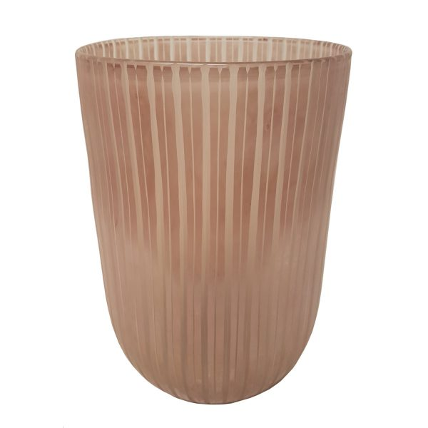 Dirty Pink Stripe Cylinder Vase