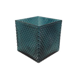 Dark Blue Glass Square Container